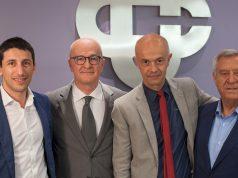 Da sinistra, Claudio Rovelli presidente Bcc di Pergola, Mauro Tarsi dg Bcc di Corinaldo, Mario Montesi dg Bcc di Pergola, Felice Saccinto, presidente della Bcc di Corinaldo