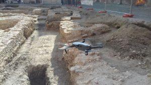 Anche il drone sugli scavi ma non è utilizzato per il laser scanner