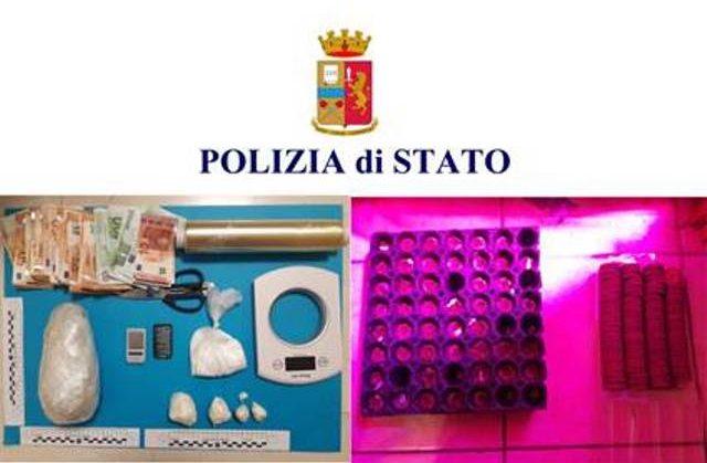 Droga, soldi e materiale sequestrato (Foto: Polizia di Stato)