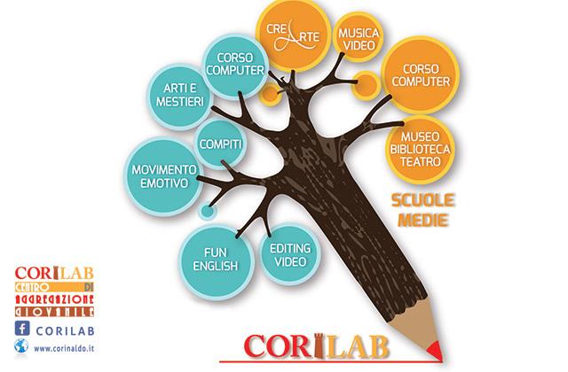 locandina del CoriLAB, il centro di aggregazione giovanile di Corinaldo