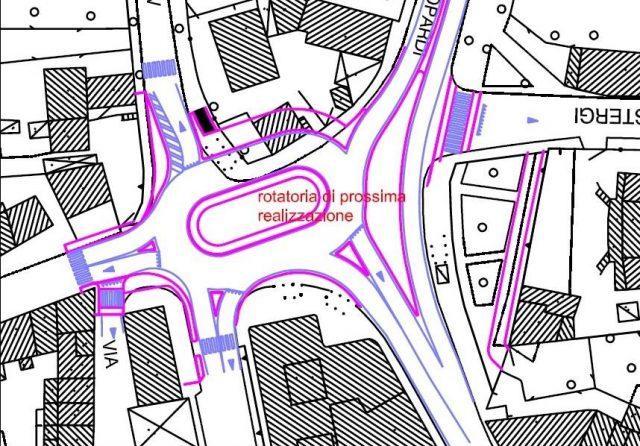 La piantina della nuova rotatoria all'incrocio della Penna a Senigallia
