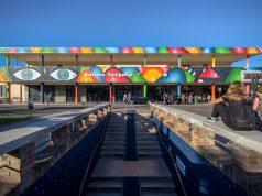 """""""Universe"""", il wallpainting realizzato dall'artista GeometricBang sulla facciata della stazione di Senigallia (Foto: Pop Up! Festival)"""