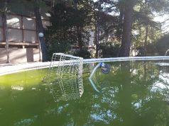 Il carrello della spesa gettato nella vasca dei giardini pubblici di Jes