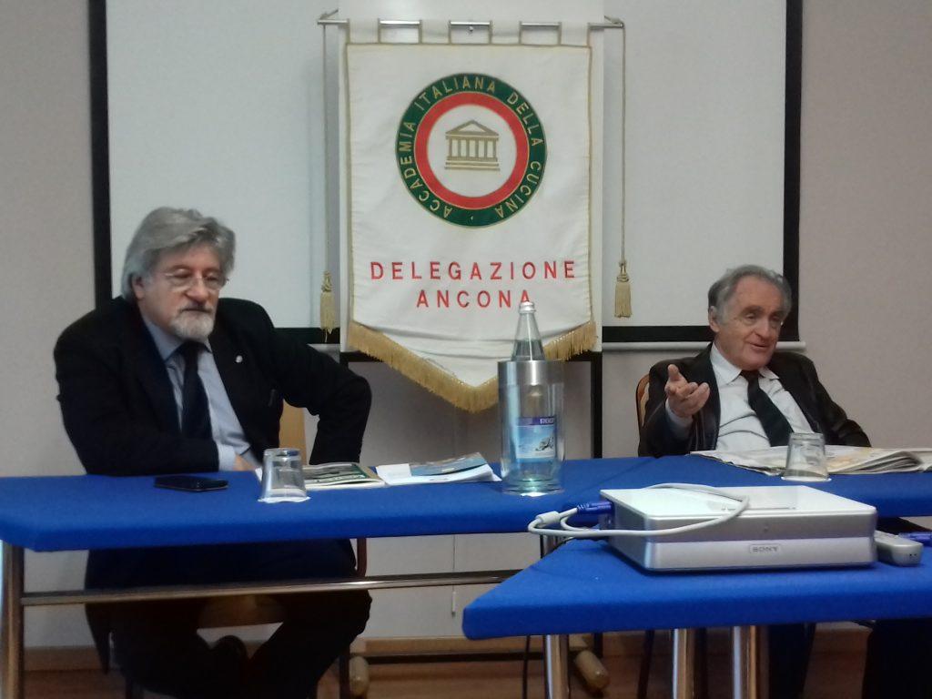 Per la Delegazione di Ancona dell'Accademia Italiana della Cucina l'avv. Pietro Aresta e l'ing. Mauro Magagnini