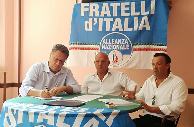 Fratelli d'Italia: da sinistra Carlo Ciccioli, Marcello Liverani e Lorenzo Rabini