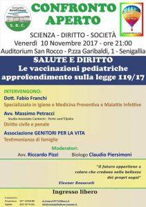 La locandina dell'incontro sui vaccini promosso a Senigallia