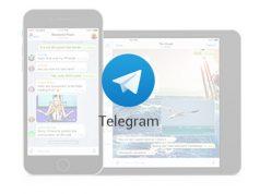 Logo e schermata di Telegram