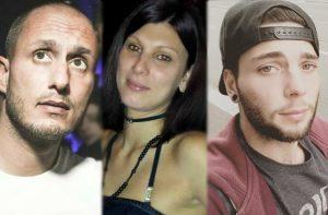 Le vittime dello schianto a Falconara: da sinistra Giuseppe Babici, Francesca Traferri e Mattia Bressan