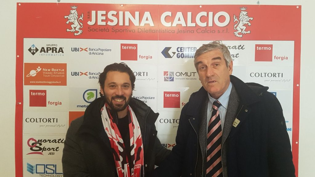 Daniele Di Donato, nuovo allenatore della Jesina, con il presidente Marco Polita