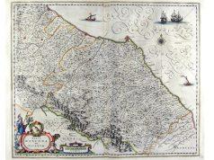La mappa con le terre del duca di Urbino a sinistra e la marca d'Ancona a destra