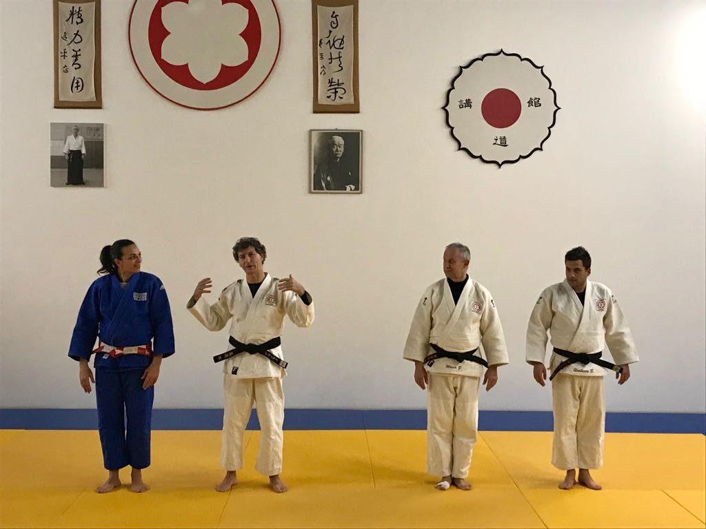 La campionessa Lucia Morico con i maestri e allenatori de Budo Center Graziano Caimmi, Marco Zega e Umberto Bollettini