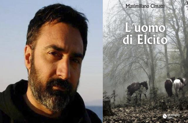 """Maximiliano Cimatti e la copertina del suo romanzo """"Luomo di Elcito"""""""