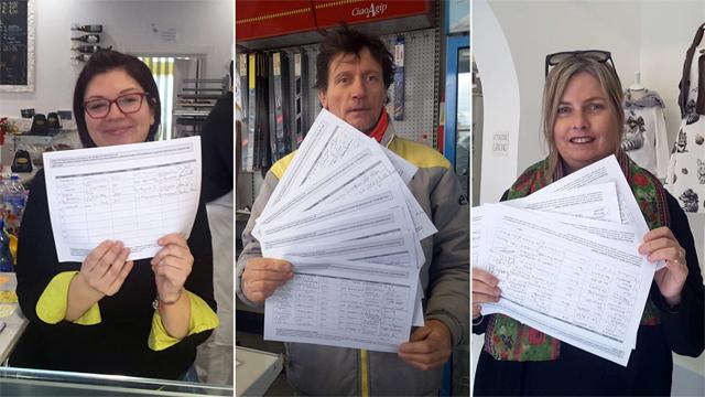 Nella foto da sin. Lucia Sensoli, Luciano Montesi, Stefania Sardella mostrano i fogli con le firme apposte