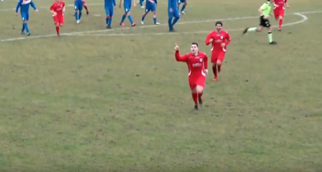 La gioia di Ferretti dopo il gol