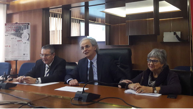 Da sin. il pro-rettore Univpm Gian Luca Gregori, il rettore Sauro Longhi e il direttore generale della Politecnica delle Marche Rosalba Valenti
