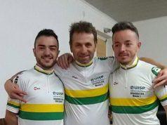 I tre atleti di Senigallia campioni regionali del ciclocross Uisp: da sinistra Antonio Macculi, Alessio Olivi e Cristian Tarsi
