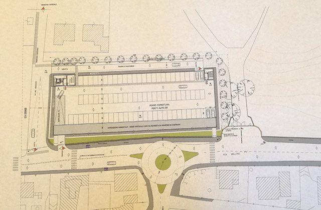 Il progetto per i nuovi parcheggi in via Cellini a Senigallia con la rotatoria
