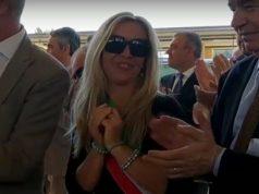 La sindaca Barbara Romualdi all'inaugurazione del raddoppio ferroviario sulla tratta Orte-Falconara