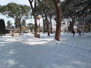 Il sole sulla neve ai giardini pubblici di Viale Cavallotti