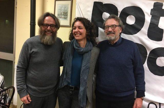 Giorgio Cremaschi con i candidati Valeria Carnevali e Stefano Gatti