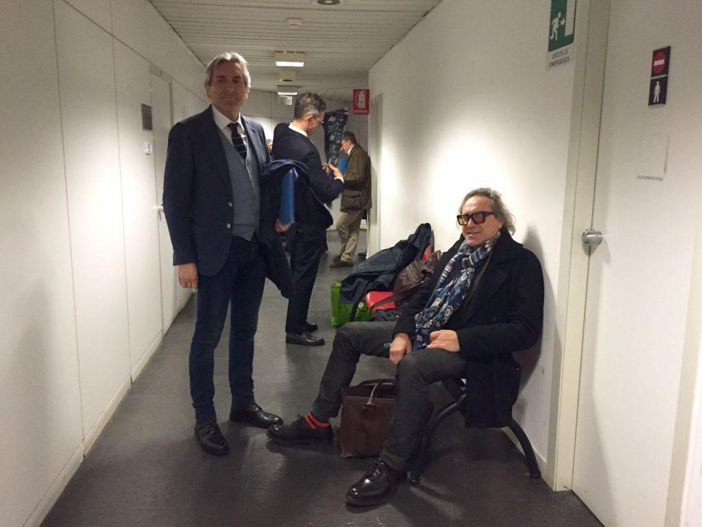 Roberto Angelini (a sinistra) e Daniele Maria Angelini in tribunale per l'asta