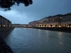 Il fiume Misa a Senigallia ingrossatosi per le piogge