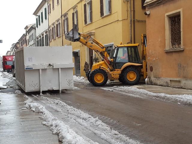 Corso Matteotti ripulito dalla neve