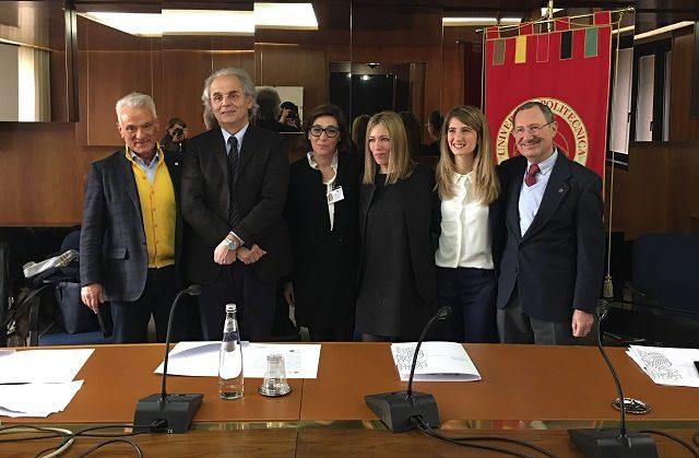 Nella foto da sin.: il direttore generale degli Ospedali Riuniti Caporossi, il rettore dell'Univpm Longhi, la dott.ss Rupoli, la dott.ssa D'Errico, la dott.ssa Pedinelli e il Prof. Nardi