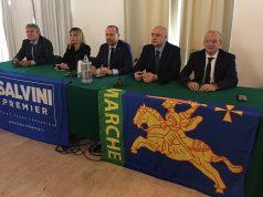 I parlamentari marchigiani della Lega. Nella foto da sin.: on. Paolini, on. Latini, sen. Arrigoni, sen. Pazzaglini, on. Patassini