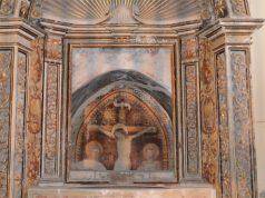 """La """"Crocifissione"""", affresco del '400 di scuola marchigiana presente nella chiesa del SS. Crocifisso a Ostra Vetere"""