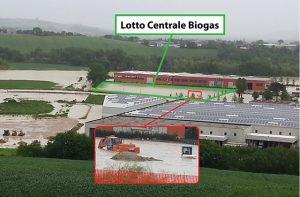 L'area industriale Zipa a Casine di Ostra che nel maggio 2014 venne allagata da oltre 1,5 metri di acqua e fango. Nel riquadro il terreno dove dovrebbe sorgere la centrale biogas