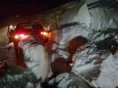 Distacco di un ammasso di neve e terriccio a Roncitelli di Senigallia