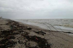 La spiaggia a Marzocca di Senigallia: mareggiate per il maltempo
