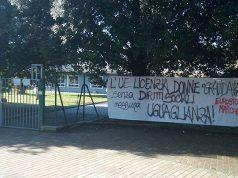Lo striscione a Senigallia affisso da Eurostop Marche per l'8 marzo