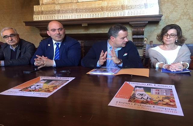 La conferenza stampa di oggi: da sinistra il presidente della Asso Luigi Giacco, il sindaco Simone Pugnaloni, il vicesindaco Mauro Pellegrini e la presidente della Fondazione Grillantini Elisabetta Leonardi