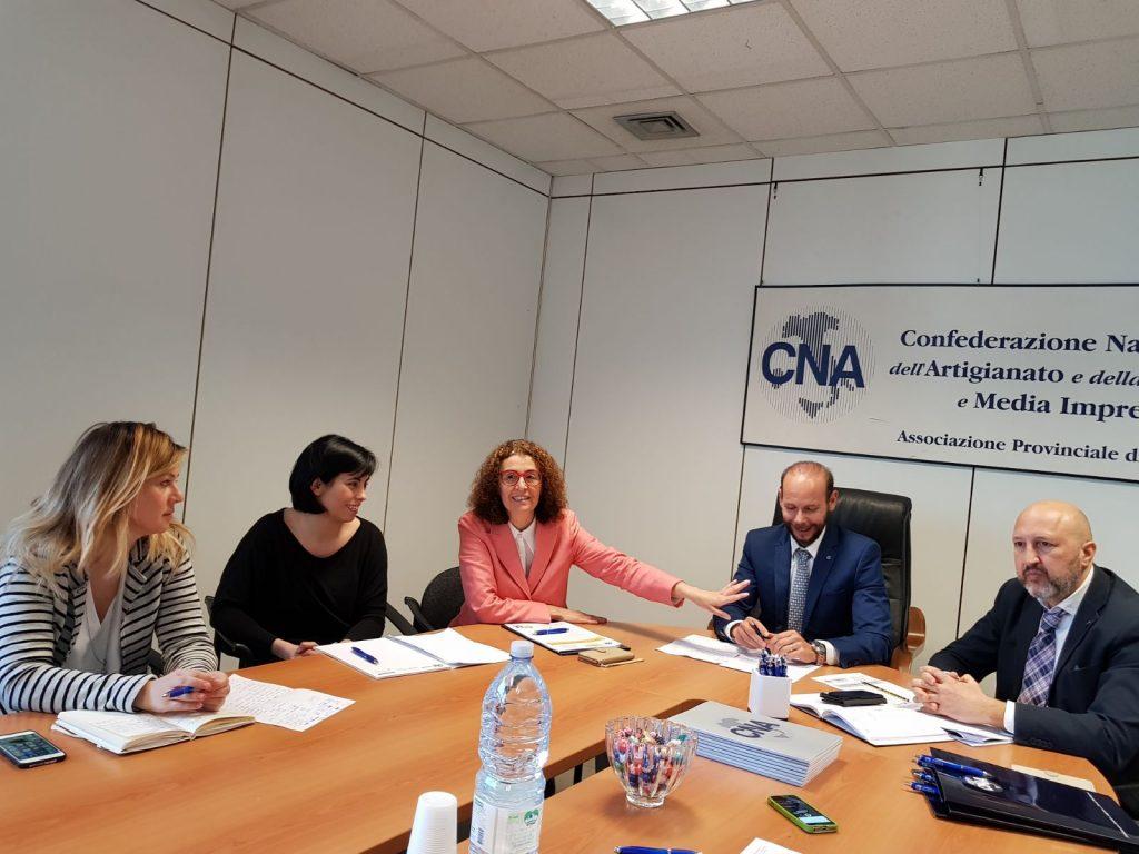 Da sinistra, Maura Mengoni, Gloria Rossi, Lucia Trenta, Massimiliano Santini e Marzio Sorrentino