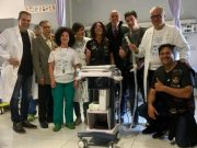 La consegna dell'ecografo al reparto di rianimazione pediatrica dell'ospedale Salesi di Ancona