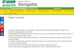 La pagina web sul sito Uisp di Senigallia per promuovere l'attività dell'ostello Le Dune sul lungomare Da Vinci