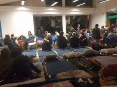 Il gruppo di protezione civile di Trecastelli al lavoro a Tolentino per il terremoto