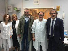 Il sindaco Gabriele Santarelli insieme al Direttore di Area Vasta Maurizio Bevilacqua e al direttore dell'ospedale Stefania Mancinelli