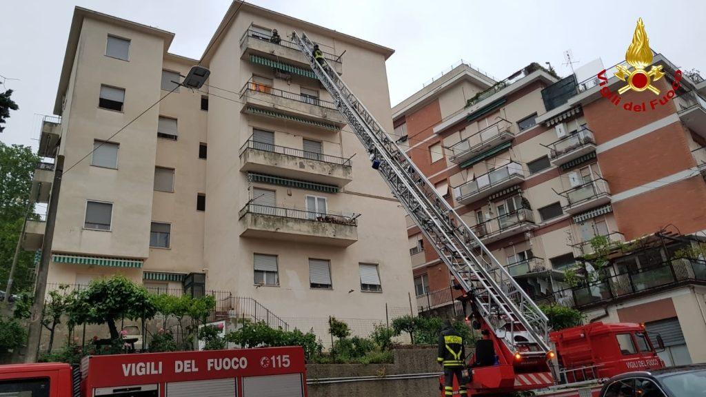 L'intervento ad Ancona dei vigili del fuoco