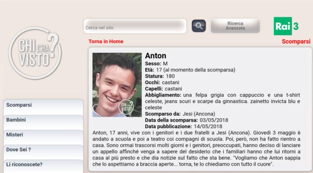 """La scomparsa di Anton anche sul sito di """"Chi l'ha visto?"""""""