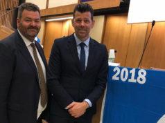 Monachesi e Mangialardi alla cerimonia per la bandiera blu d'Europa 2018