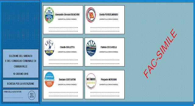 La scheda elettorale di Chiaravalle (fac simile)