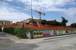 I lavori sulla collina del seminario in via Cellini per la realizzazione di un parcheggio in struttura