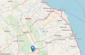 La mappa del terremoto del 21 maggio a Muccia (Mc), avvertito anche ad Arcevia (An)