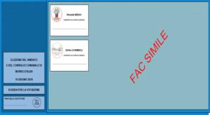 La scheda elettorale di Morro D'Alba (fac simile)