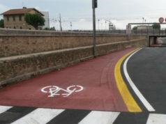 Un tratto della pista ciclabile di Senigallia, in via Perilli