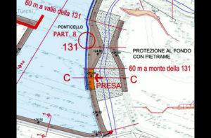 Il progetto delle vasche di espansione in zona Bettolelle: particolare sul restringimento degli argini