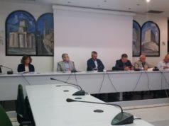 La presentazione del report delle attività: da sin. Giuliana Latini, Lorena Varani, Tommaso Borri, Gabriele Santarelli, Ugo Pesciarelli e Lamberto Pellegrini